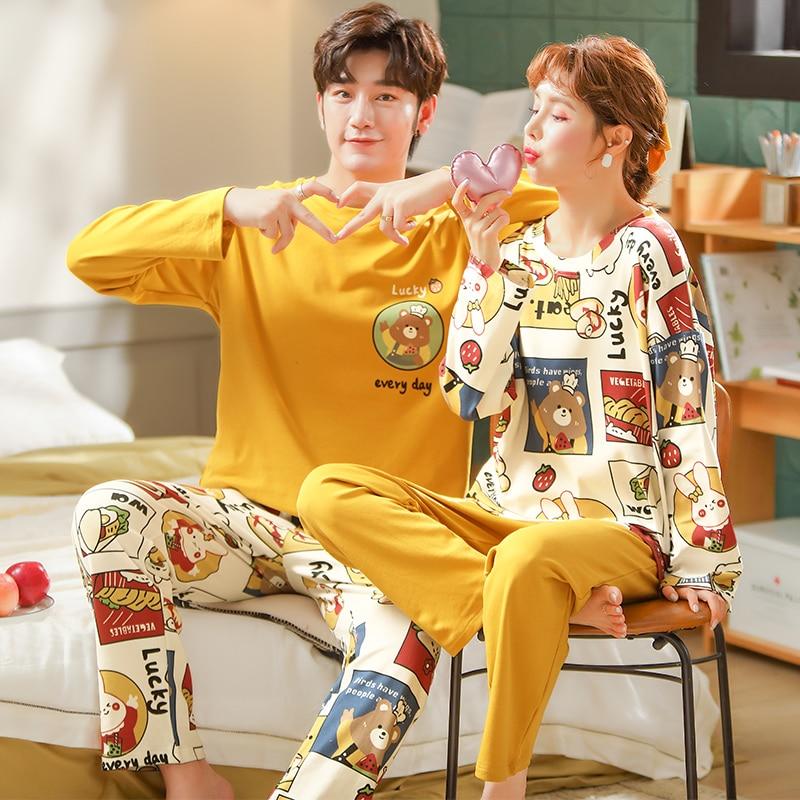 Весенняя одежда для сна для женщин и мужчин, хлопковые Пижамные комплекты, домашняя одежда, пижамные комплекты, Мужские пижамные комплекты