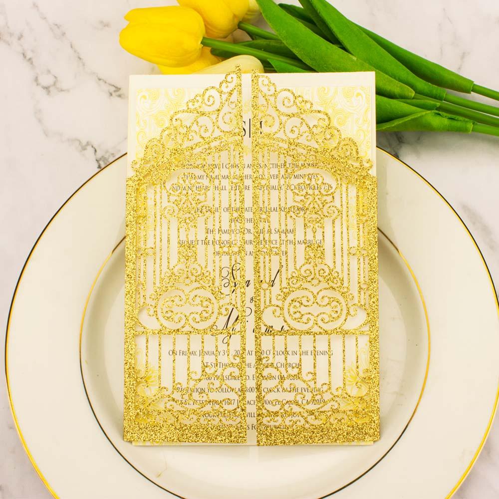 Frete grátis 1x rosa ouro pêssego glitter oco portão corte a laser bolso convite casamento cartão envelope saudação