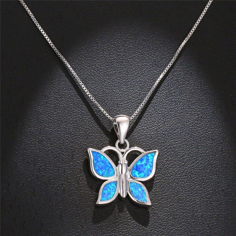 De Lujo mujer mariposa colgantes collar color plateado collares para mujeres Boho ópalo de Fuego Azul collar