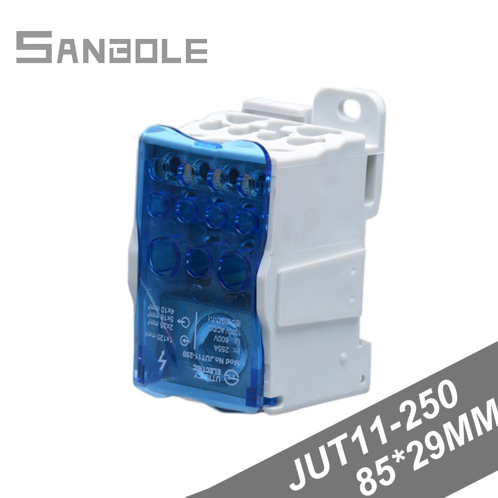 JUT11-250 الموزع كبير الحالي اتصال تصاعد ثقوب 54 مللي متر محطة كتلة مستطيل AC/DC النحاس