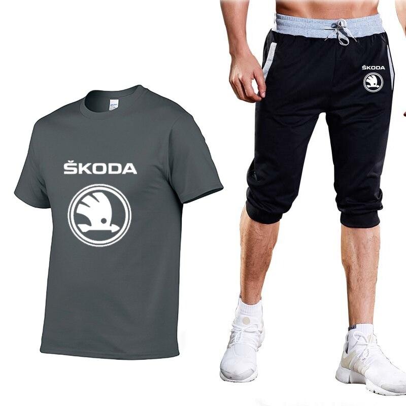 New 2020 Summer Men's Suit Skoda Car Logo Printed Men's T-Shirt Fashion Casual Solid color Crew neck T-Shirt Pants Suit 2Pcs