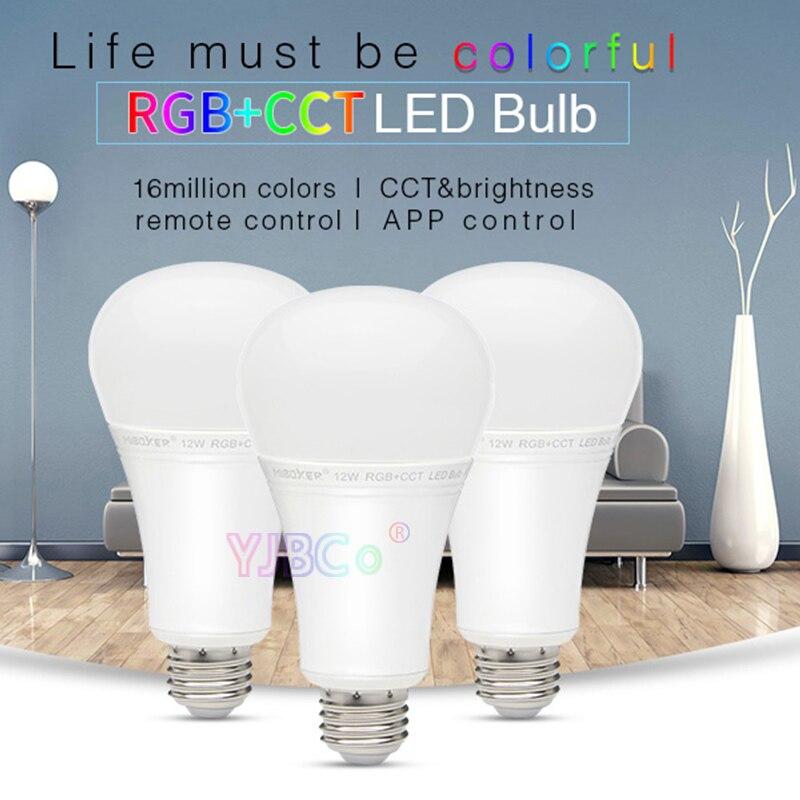 Miboxer FUT105 12W RGB + CCT Lâmpada LED E27 Interior lâmpada luz Controle remoto 2.4G smartphone APP para o Quarto sala de estar AC100 ~ 240V