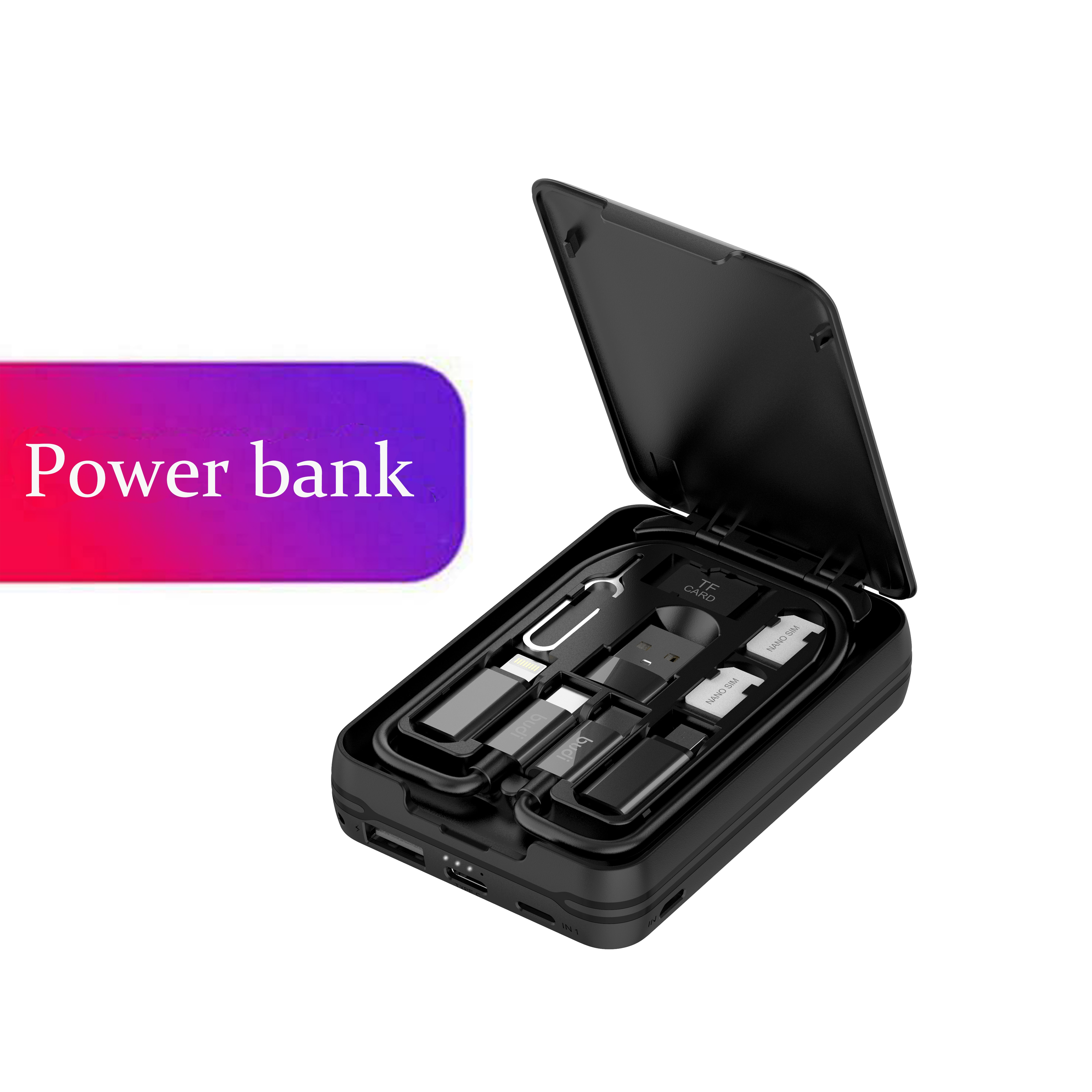 Universal Multi-funktion Smart Adapter Karte Lagerung Box Daten Kabel USB Wireless Charging Power Bank Für Iphone Xiaomi Huawei