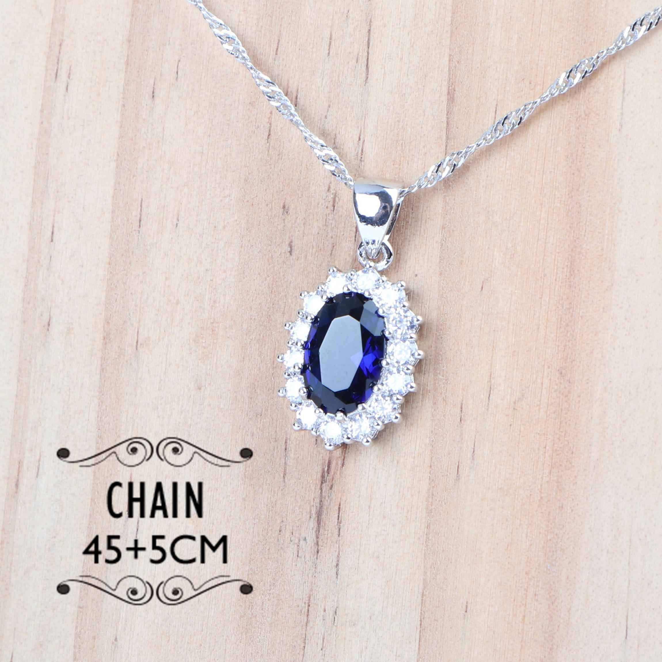 Wedding Necklace Jewelry Sets Bridal Zirconia Jewellery Silver 925 Rings Women Costume Bracelets/Earrings/Pendant Set Blue Stone