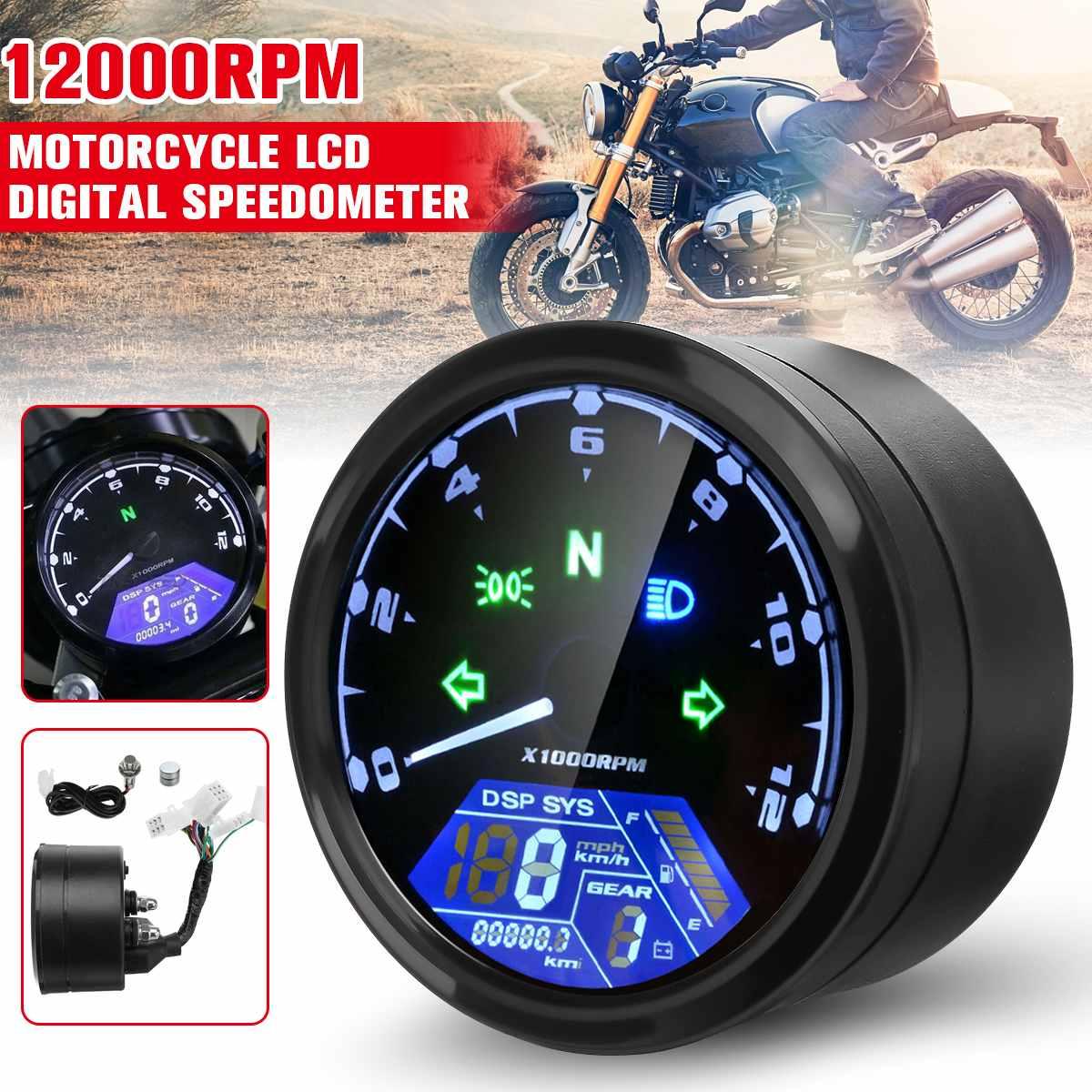 12000RPM دراجة نارية LCD شاشة ديجيتال عداد السرعة مقياس سرعة الدوران عداد المسافات مقياس مقهى المتسابق موتور 8-18 فولت العالمي
