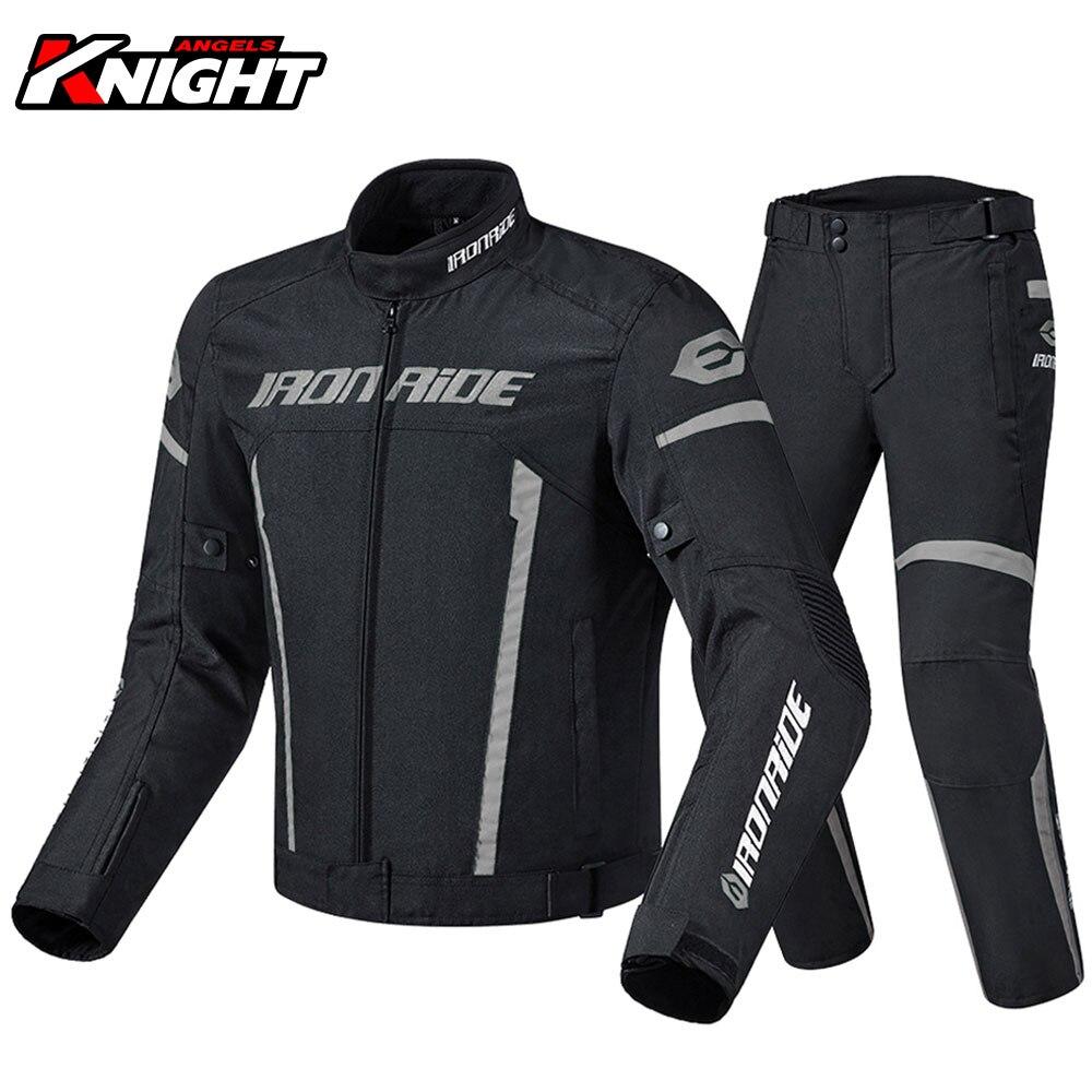 Men Motorcycle Jacket Suit Chaqueta Moto Windproof Motocross Riding Jacket Protective Gear Waterproof Motorbike Pants Set M-3XL