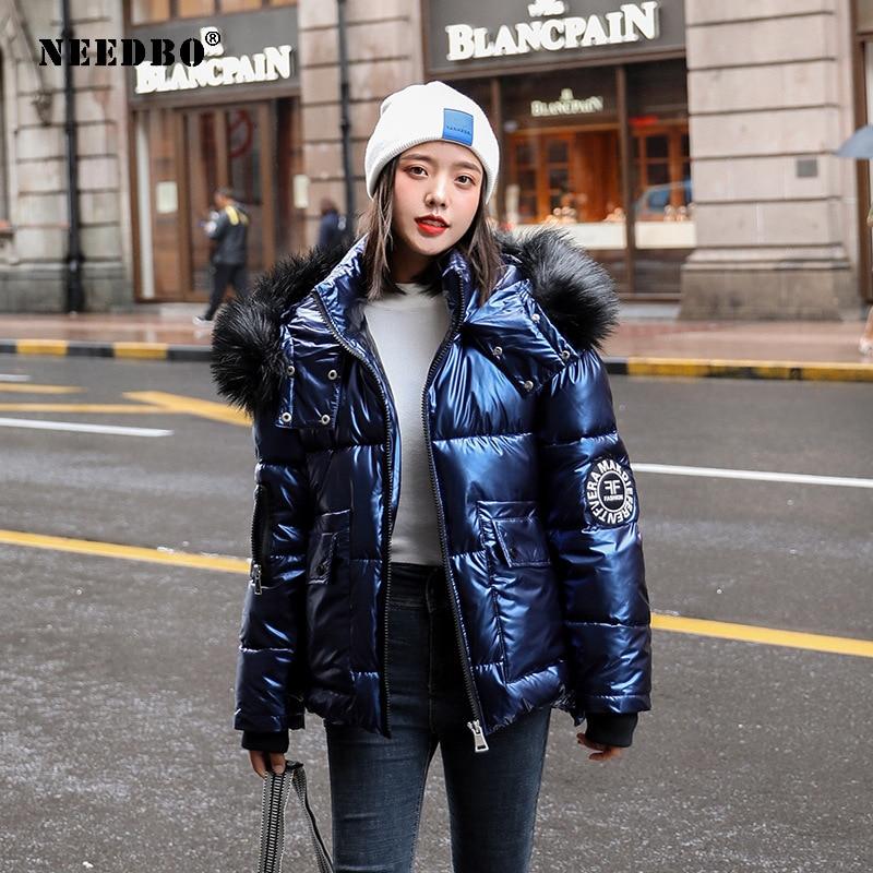 NEEDBO зимняя куртка женская парка с меховым капюшоном теплая утепленная женская пуховая куртка теплая зимняя Глянцевая парка Mujer утепленная ... фото