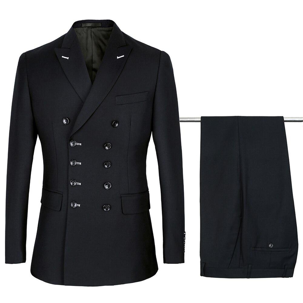 Ternos masculinos duplo breasted magro nova moda terno pico lapela casamento noivo festa de formatura traje azul marinho preto cinza escuro