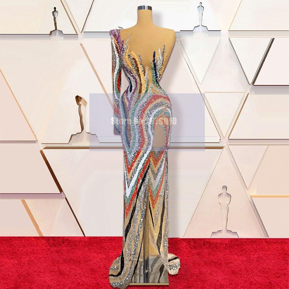 فستان سهرة ملون بألوان سباركلي غمد كامل الطول ترتر فستان للحفلات الراقصة فستان رسمي للحفلات 2020 دبي