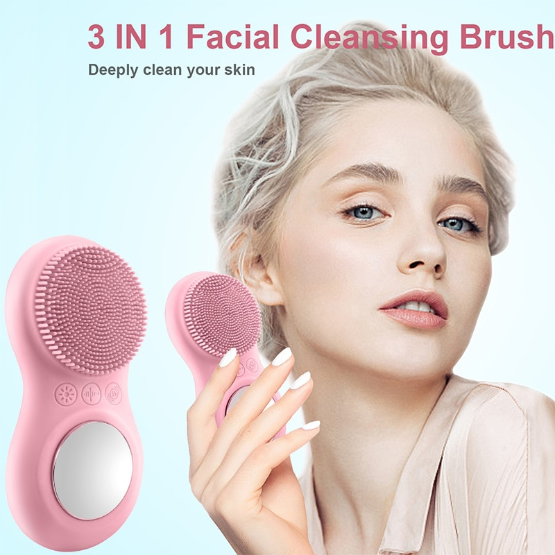 Spa Beauty Care Tools 3 In 1 Sonic Vibrating Silicone Facial Cleaner Electric Face Cleansing Brush  Deeply Clean Washing Device