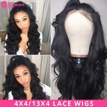 Pelucas de cabello humano con encaje frontal de Ali Pearl Hair 13x4 pelucas con cierre de 4x4 ondas de cuerpo brasileño para mujeres negras 150% Peluca de pelo AliPearl 180%