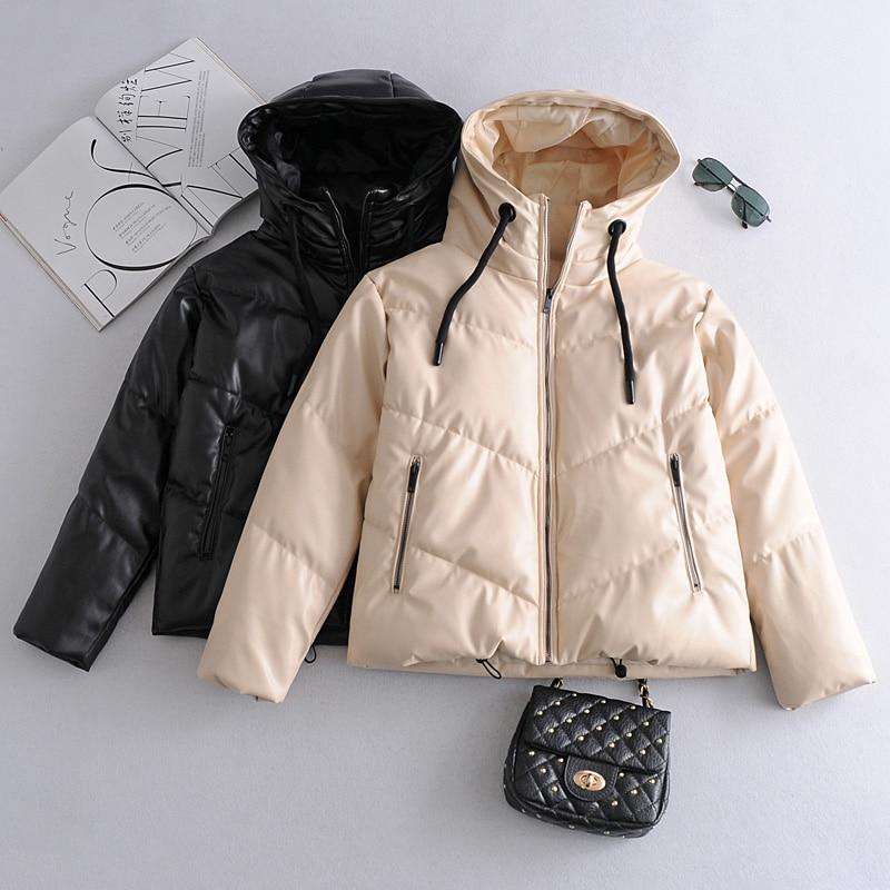 Ailegogo-معطف شتوي للنساء بسحّاب وغطاء للرأس ، مصنوع من الجلد الصناعي والقطن, جاكيت كاجوال نسائي سميك دافئ قصير مقاوم للرياح