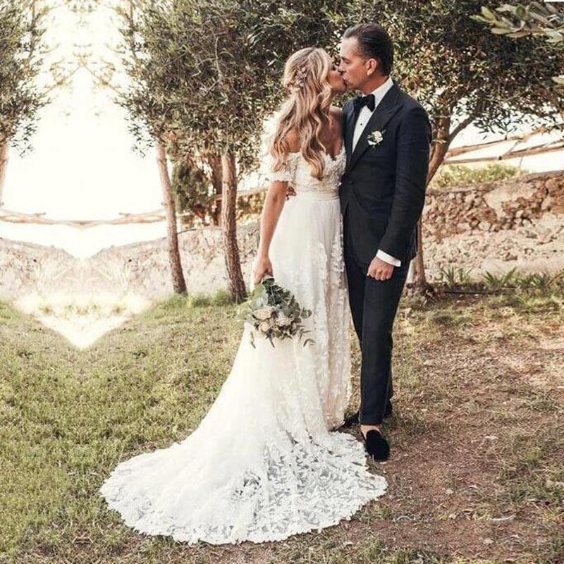 Eightale Boho Wedding Dresses Lace Off the Shoulder Short Sleeves A-Line Custom Made Bohemian Wedding Gowns 2020 Bride Dress
