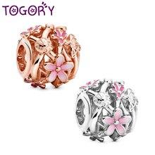 TOGORY 2Pcs/lot Openwork Pink Daisy Beads Charms fit Original Pandora Charms Bracelets For Women Men Trinket Jewelry Making