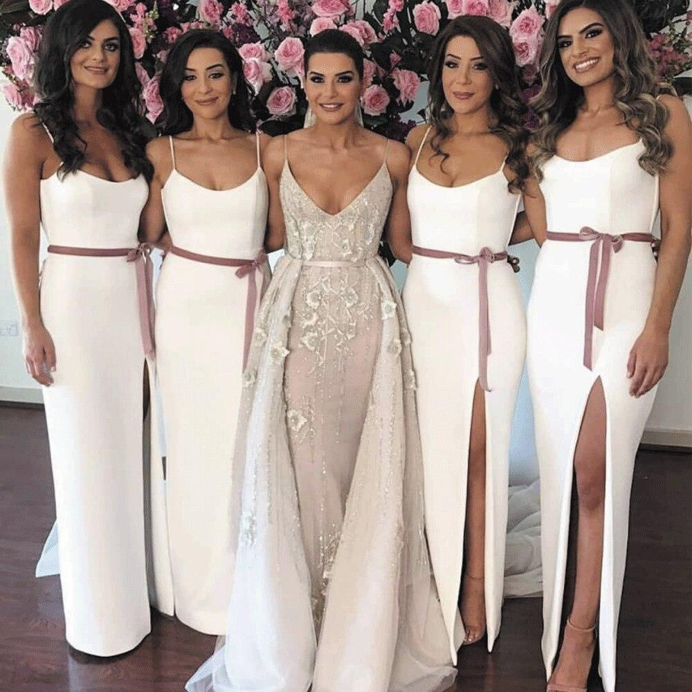 SuperKimJo vestidos de dama de honor sirena largo blanco barato Sexy vestidos...