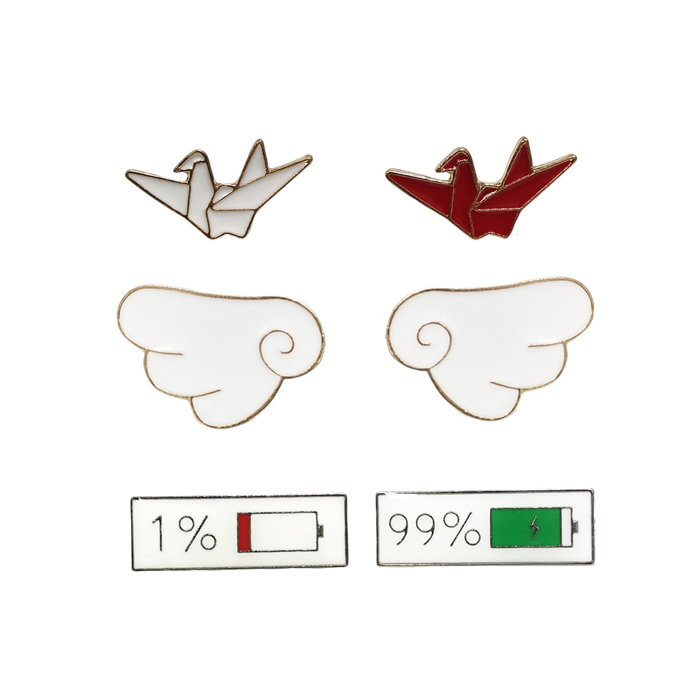 RSHCZY 2Pcs/set Fashion Enamel Brooch Cute Wings Origami Battery Mix Badge Pins For Backpacks Jewelry Gift