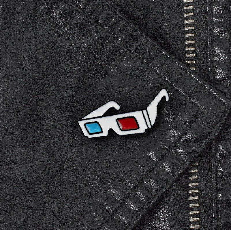 Enamel Cartoon Pins 3D Glasses Sunglasses Sunglasses DIY Collection Badge Brooch Jewelry