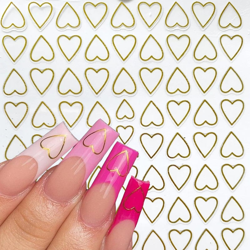 1pcs Love Hearts 3D Nail Stickers  Golden Adhesive Ultra-thin Hollow Love Nail Art Sticker DIY Nail Sticker Nail Art Decorations фото