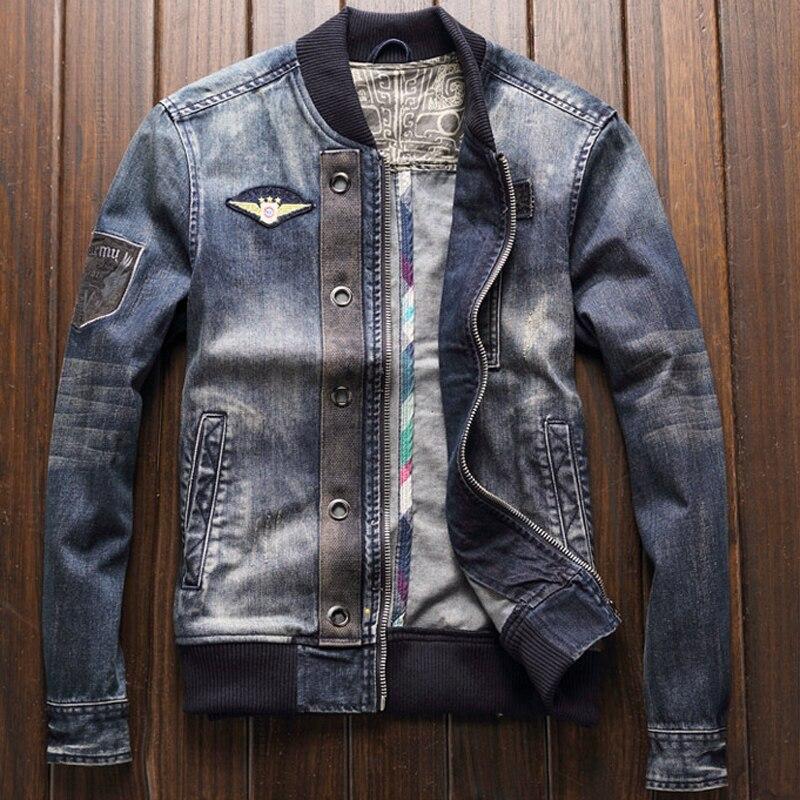 Chaquetas y abrigos vaqueros estilo americano para hombre, primavera de talla grande XXXL, abrigos para hombre, prendas de vestir exteriores, ropa de marca para hombre 2020 A208