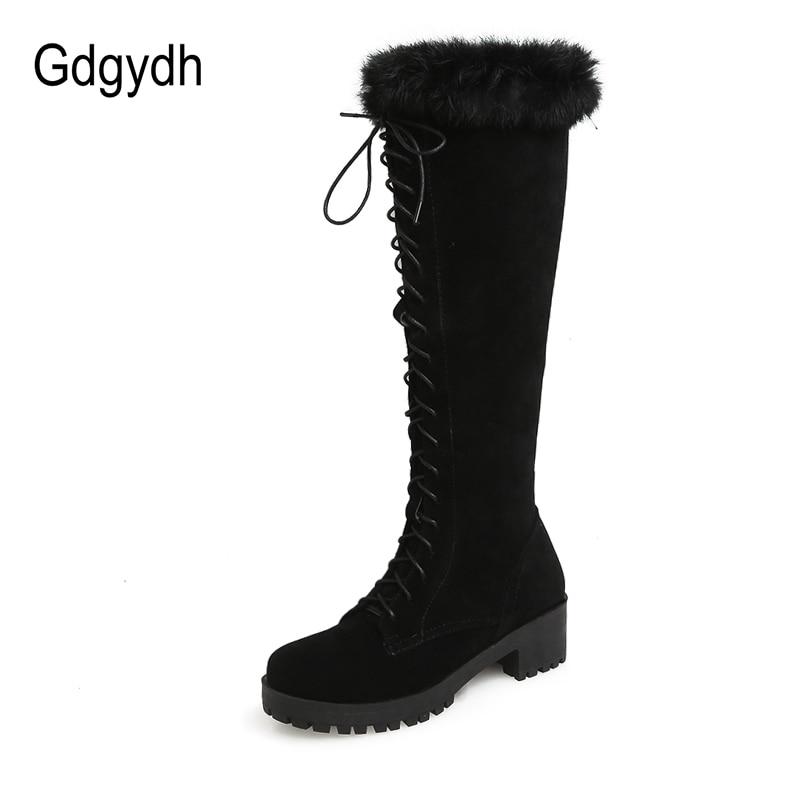 Gdgydh-أحذية ثلج من جلد الغزال الصناعي للنساء ، أحذية شتوية دافئة بكعب سميك ونعل مطاطي ، مقاس كبير