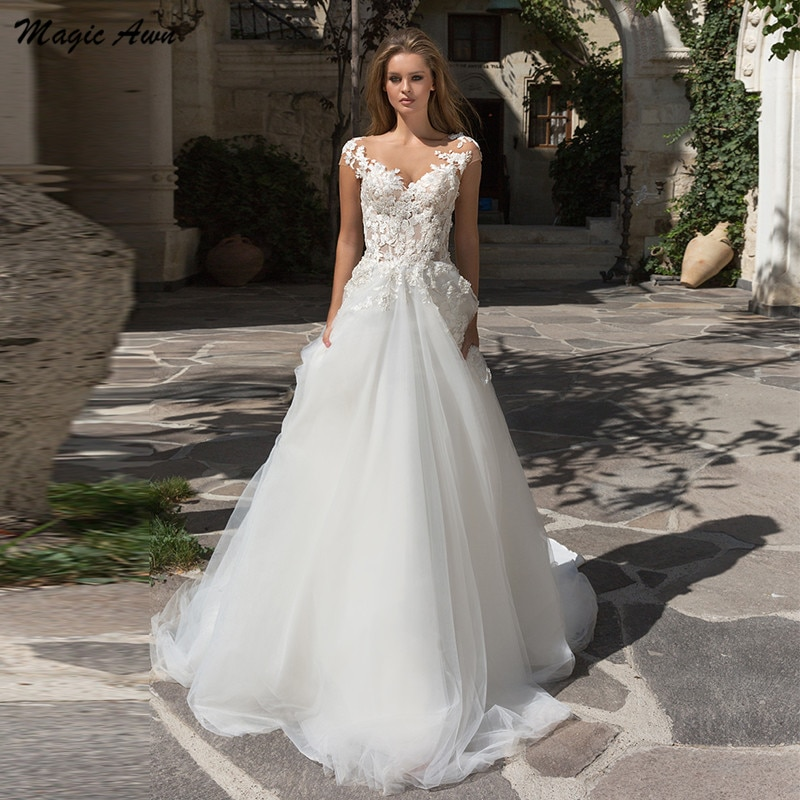 Magic Awn Elegant Tulle Wedding Dresses Beach Lace Flowers Appliques Illusion Princess Boho Mariage Gowns Sweep Train Vestidos недорого