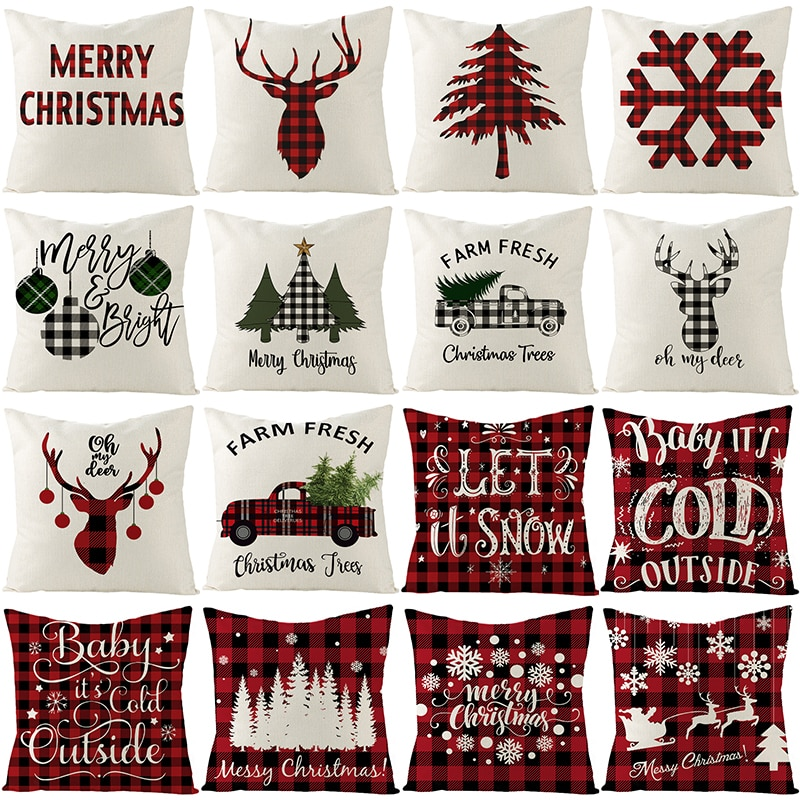 christmas trees gifts pattern indoor outdoor area rug 2021 Merry Christmas Pillowcase Trees Gifts Snowflake Cushion Cover  Floral Pattern Pillow Cover 20 Design Available Pillow Case