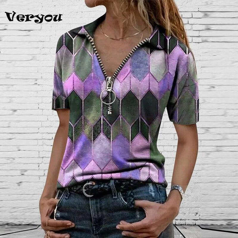 2021 женская модная одежда, футболка для женщин, винтажные футболки, женская большая Приталенная футболка с винтажным принтом, лацканами, мол...