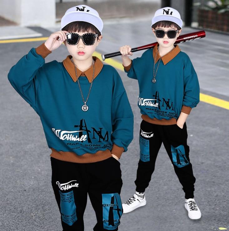 Худи для мальчиков и девочек, 2020 год осенний Детский костюм Спортивная одежда с длинными рукавами для детей-подростков, весенне-осенняя оде...