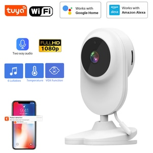 Tuya SmartLife HD 1080P WiFi Baby Monitor Camera Audio Motion Detection Temperature Built-in lullaby CCTV Camera Support Google