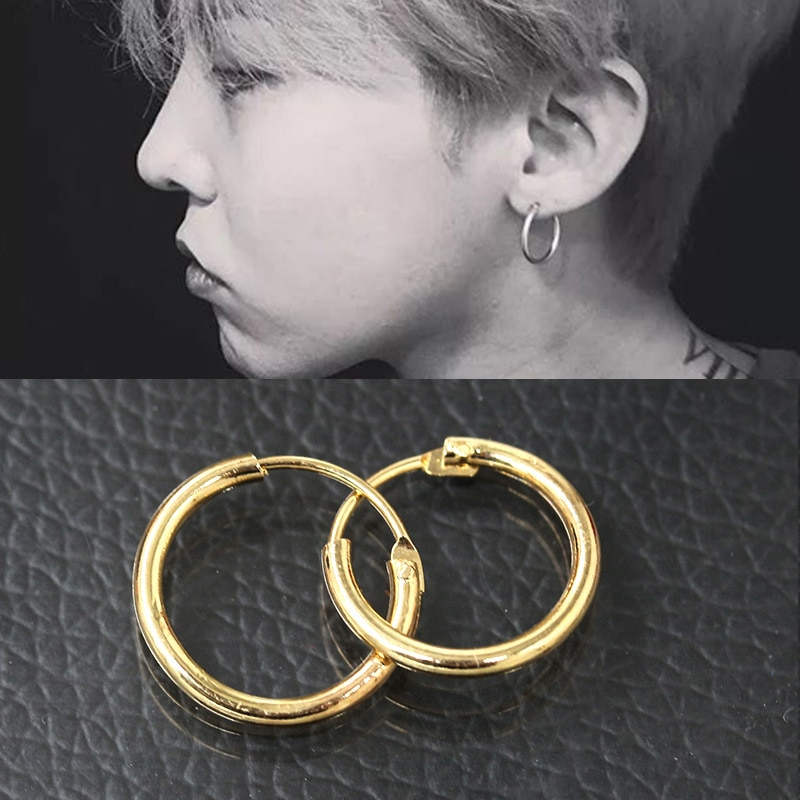 Punk Small Hoop Earrings Men Circle/round Earrings Gold Silver Color Hoops Woman Ear Rings Womens Ear Creoles Piercing Jewerly