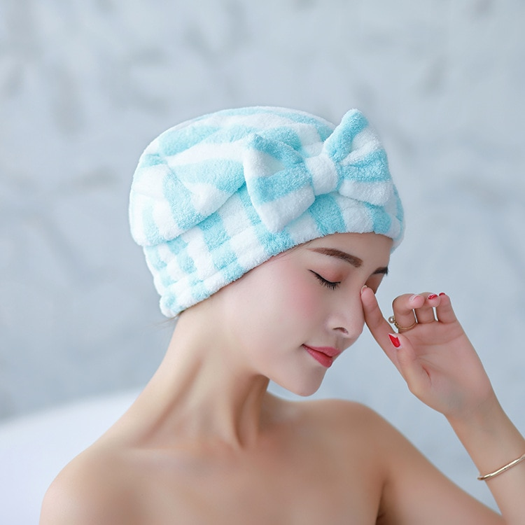 Bowknot Dry Hair Towel Quick-drying Hair Cap Shower Cap for Women Striped Pattern Super Absorbent Bath Accessories enlarge