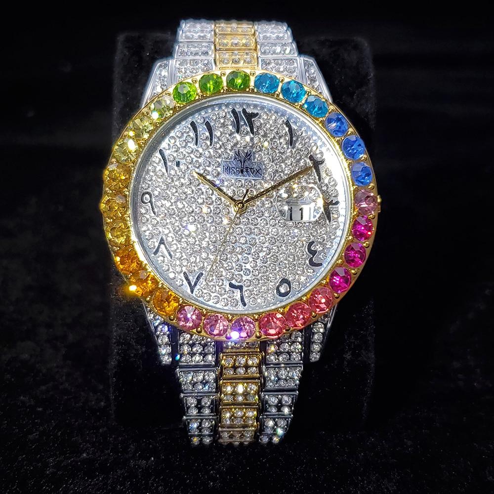 الهيب هوب MISSFOX العربية رجالي مثلج خارج الساعات العلامة التجارية الفاخرة تاريخ ساعات يد كوارتز الفولاذ المقاوم للصدأ دور ساعة للرجال مجوهرات