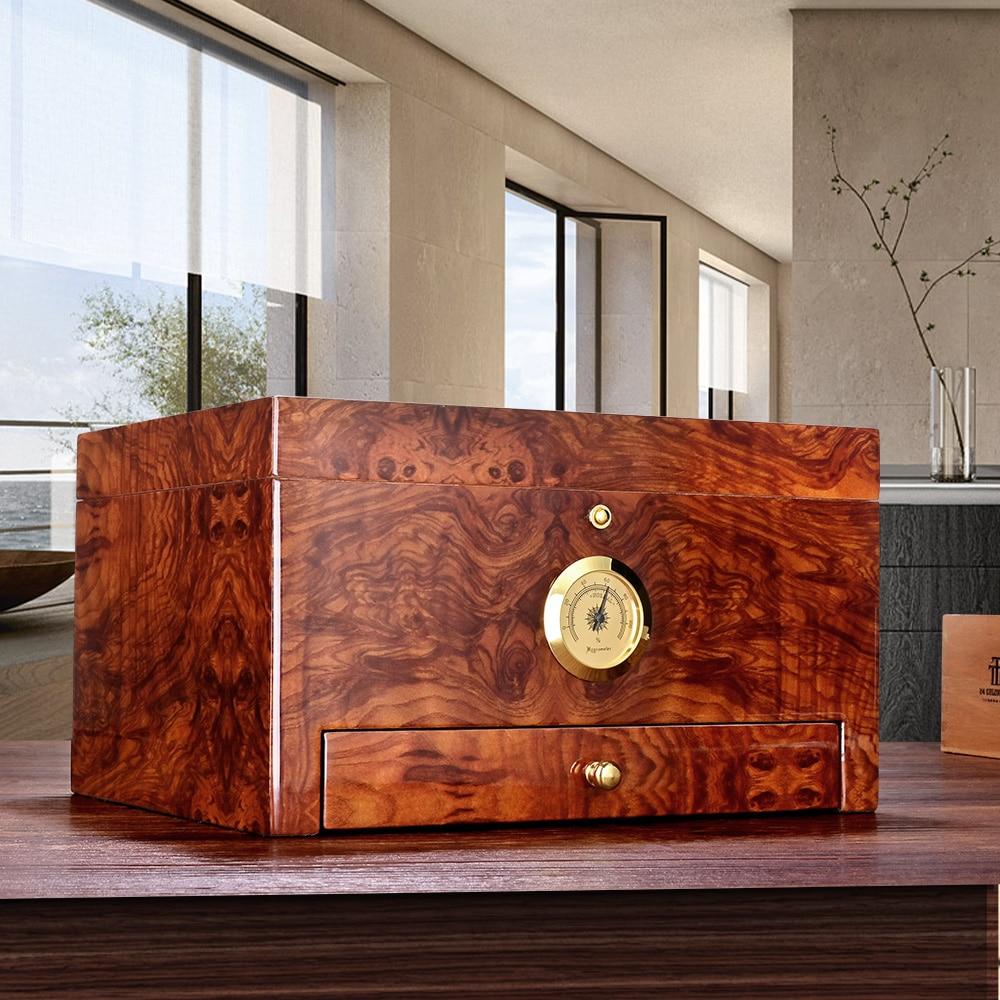 CIGARLOONG Cigar Humidor Cedar Wood Moisturizing Box Double-Layers Large Accommodate 50 Desktop