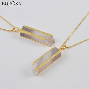 BOROSA Gold Cuboid Natural Agates Druzy Pendant Necklaces Raw Gems Crystal Necklace Fittings Luck Pendant Necklaces Women G1999