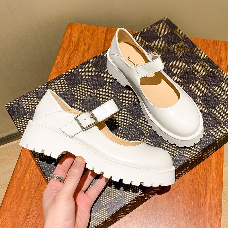 AIYUQI Women's Shoes Thick Bottom 2021 Summer New Genuine Leather Mary Jane Shoes Female Fashion Ret