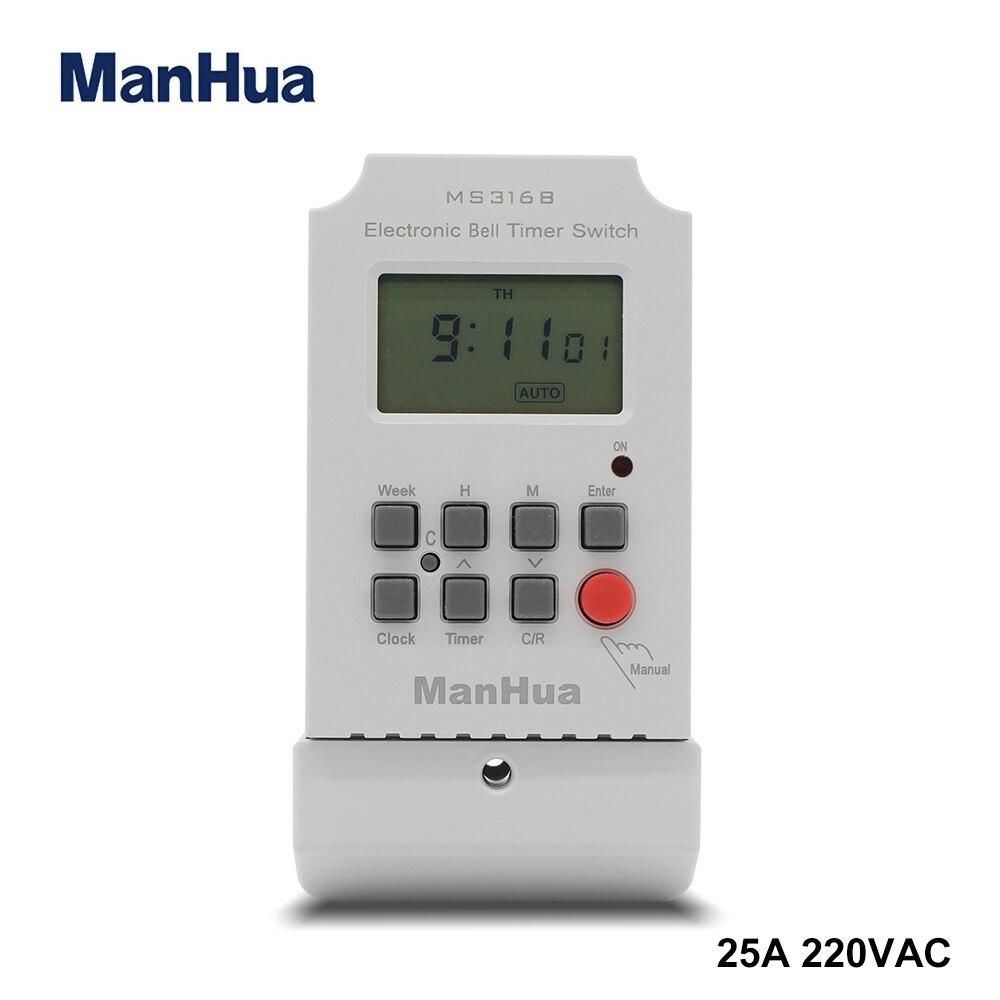 Manhua 220VAC 25A MS316B Еженедельный программируемый длительность включения/выключения 68 1-99 секунд с ЖК-дисплеем электронический школьный звонок с таймером