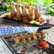 Estante multiusos para patas de pollo de 14 ranuras, estante para baquetas, parrilla para barbacoa y bandeja