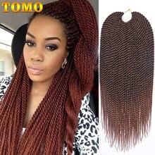 TOMO-Extensión de cabello sintético largo senegalés para mujer, cabello trenzado de 30 hebras, ombré, pequeño, crotket, para mujeres negras y marrones