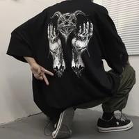 streetwear tops summer harajuku t shirt short sleeve unisex fashion goth punk dark black hip hop style oversized t shirt woman