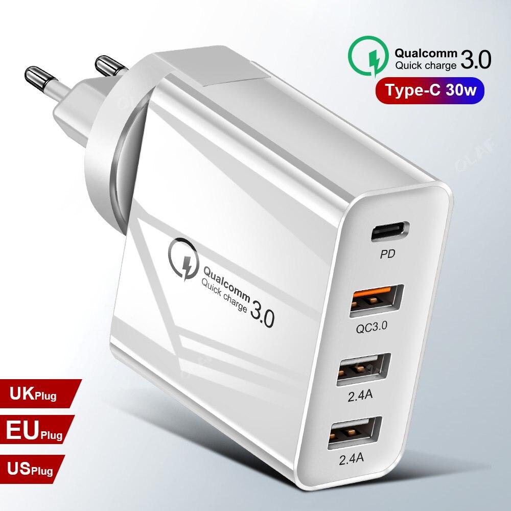 48w carregador rápido tipo c usb, carregador pd para samsung iphone xs max huawei ipad pro qc 3.0 rápido adaptador de tomada ue eua carregador de parede