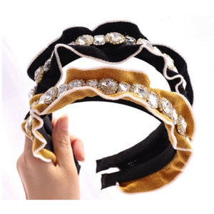 Bling Diamonds Wool Headband for Women Elegant Headdress Crochet Wool Head Band Crystals Adults Solid Cotton Hairband Wide