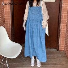 Sangle Denim robe fronde réglable en vrac Denim filles 90s robe de mode avec grande poche Style coréen Streetwear robe en Denim