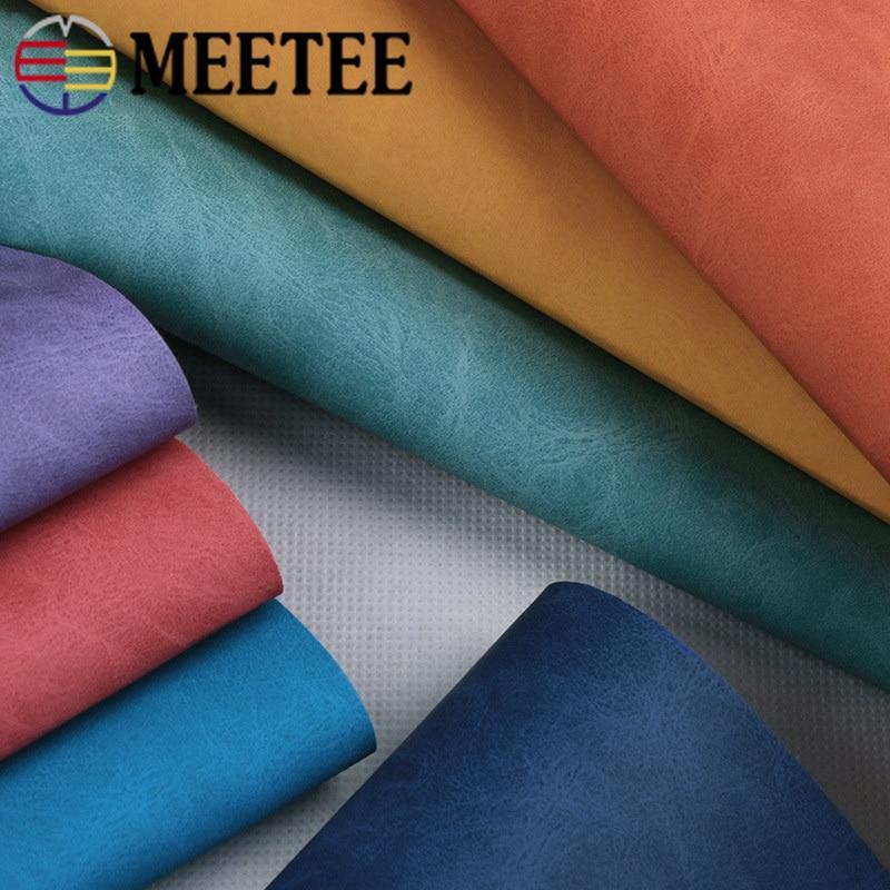 Meetee 100X137cm 0,7mm de espesor Tela de cuero sintético de PVC para portátiles bolsas de cuero DIY tela decorativa HomeTextile