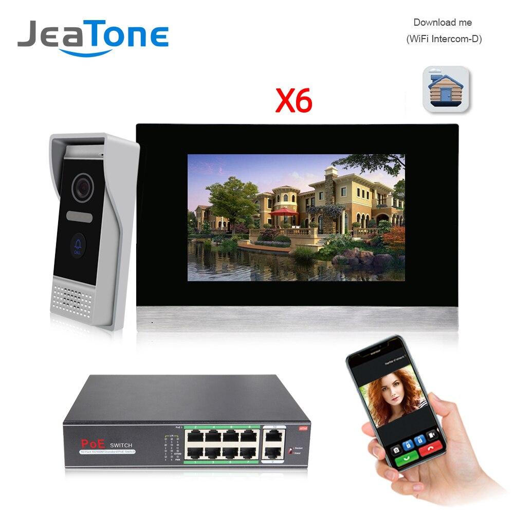 7 pantalla táctil inalámbrica WIFI IP Video puerta teléfono intercomunicador Video timbre Villa Sistema de Control de Acceso detección de movimiento 1 a 4