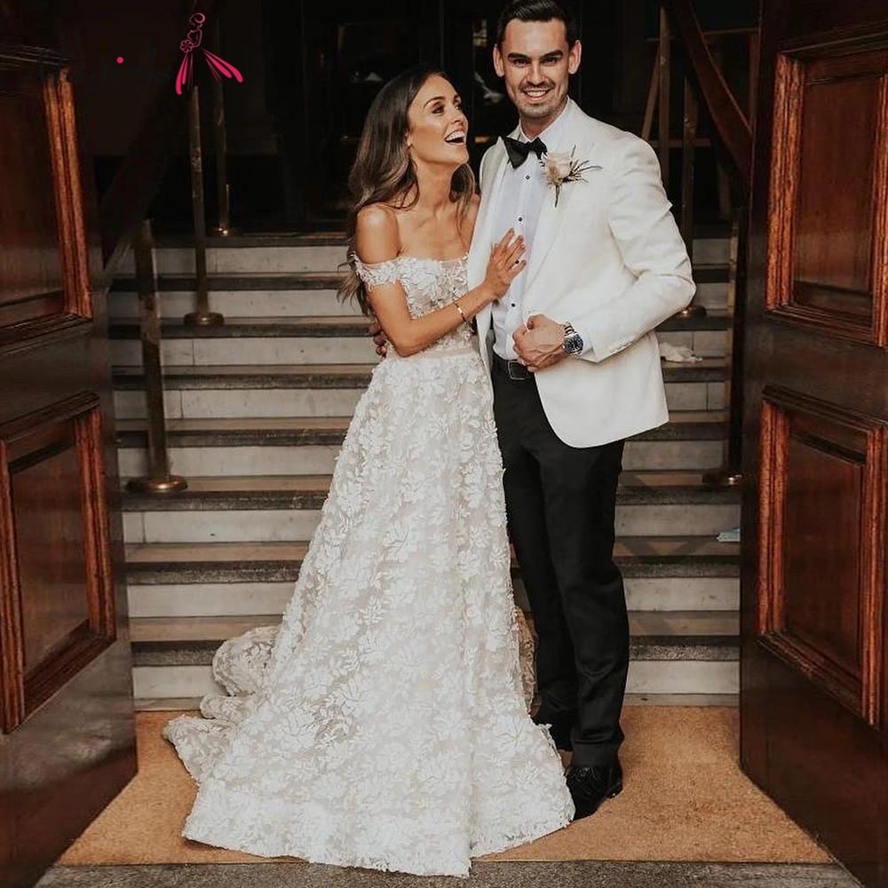 Ivory Lace Wedding Dress Boat Neck Bridal Dress Floor-Length Wedding Gown Court Train Bridal Gown Size Custom Made vestidos