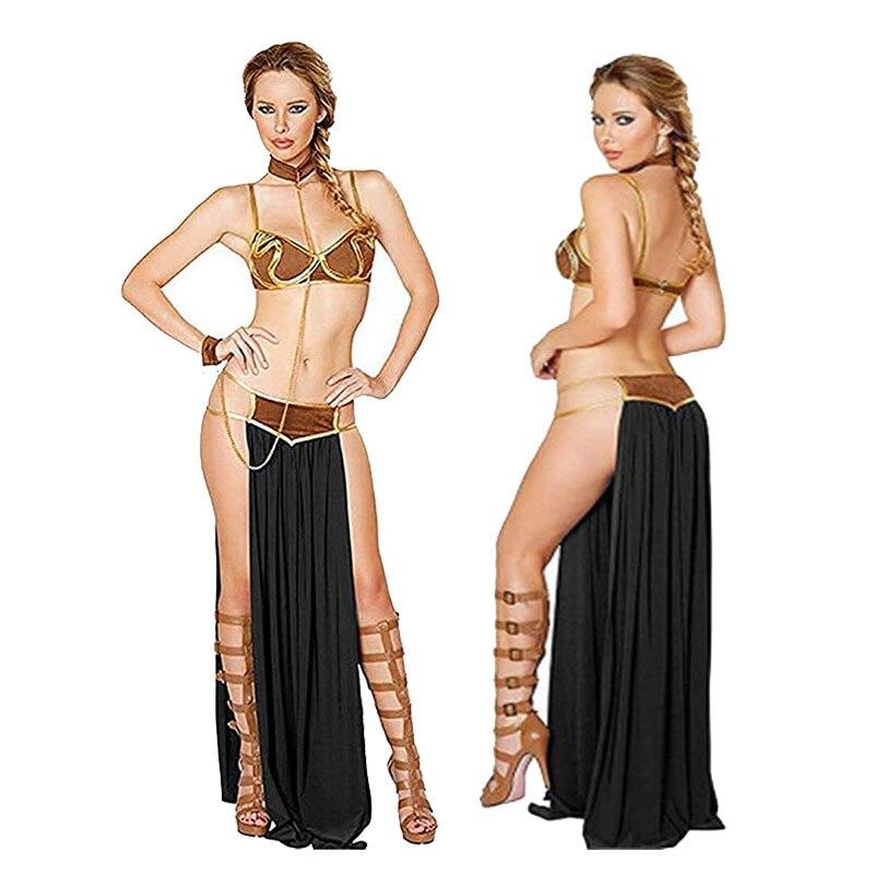 حرب النجوم Vestidos مثير الأميرة ليا الرقيق الصدرية تنورة أسود براون تأثيري هالوين زي الكبار النساء