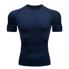 Men's Top Sports T-shirt Short Muscle Shirt Pure color round neck spandex Quick-drying fitness Compr