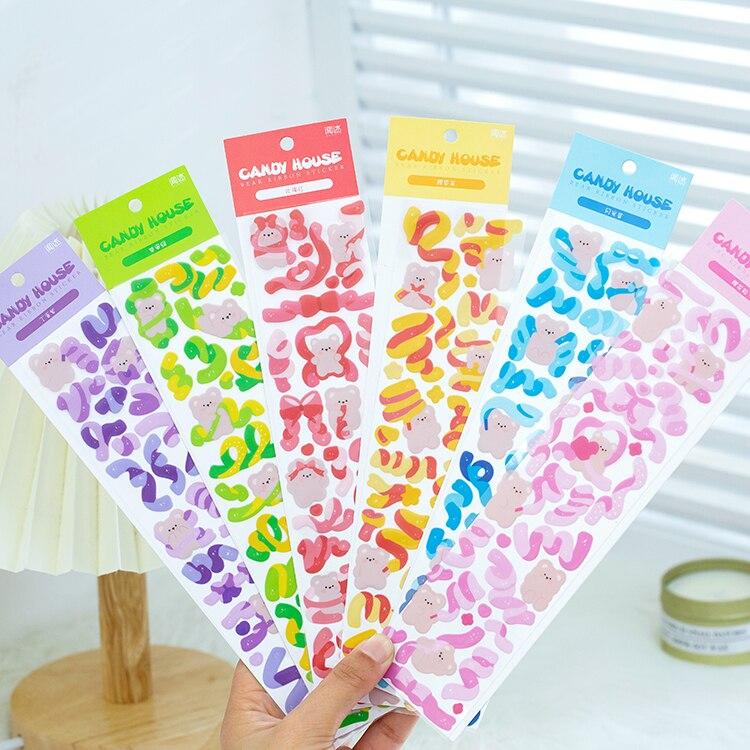 2-fogli-adesivi-orso-nastro-carino-conto-mano-creativo-piano-felice-adesivo-decorativo-forniture-d'arte-kawaii-cancelleria-coreana