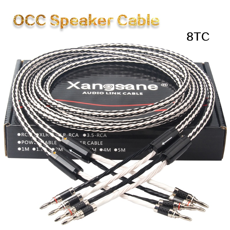 Xangsane 8TC واحد كريستال النحاس OCC مكبر صوت كابل HiFi مكبر للصوت المتكلم كابل الموز المكونات-الموز المكونات-Y FEP لحاف