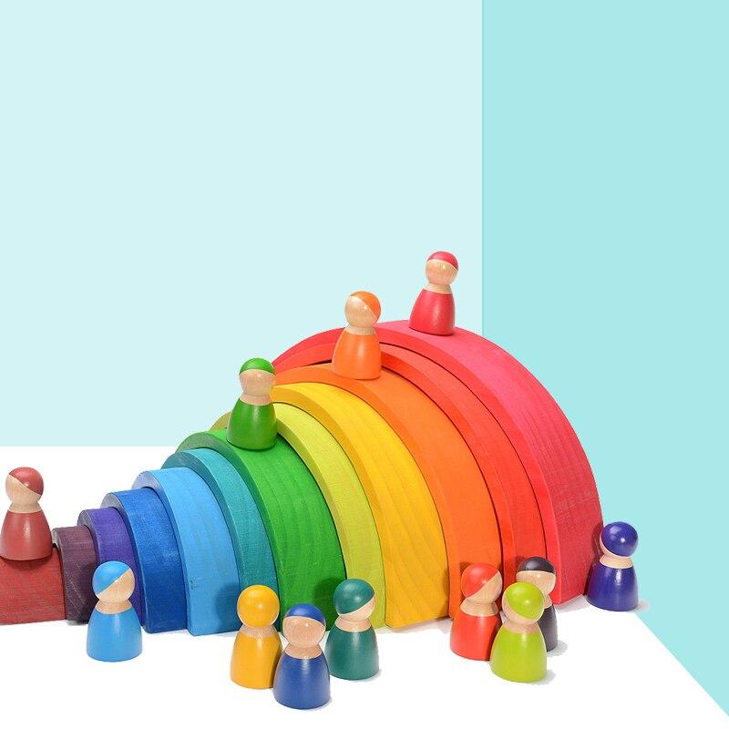Радужные строительные блоки детские игрушки из массива дерева для детского сада Обучающие деревянные блоки креативный Радужный штабелер М...